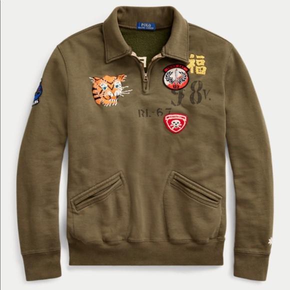 NWT Ralph Lauren Polo Boys Logo Patch Full Zip Hoodie Jacket
